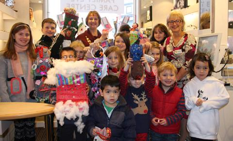 Children, pictured with town mayor Clr Vivien Davies and Wendy Diddams