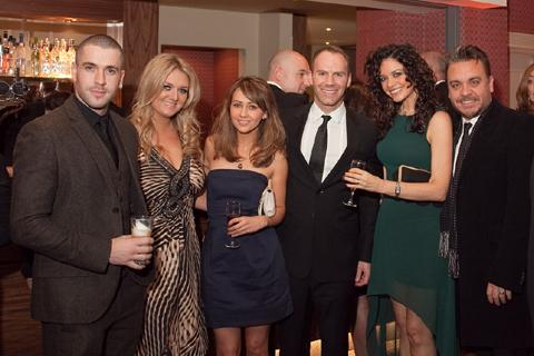 From left, Shayne Ward, Faye McKeever, Samia Ghadie, Will Thorp with patrons Jennifer James and Lee Boardman