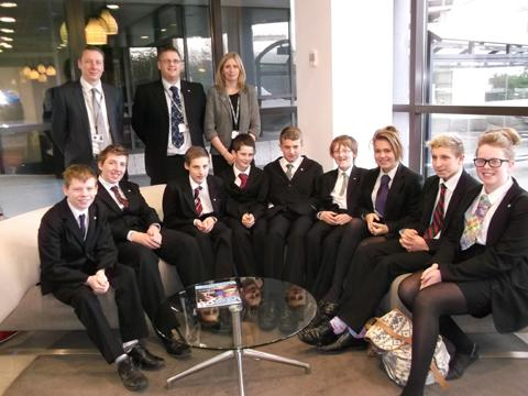 The pupils from Knutsford Academy with airport bosses