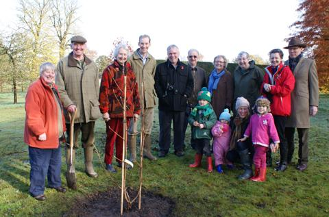 Members of the Ashbrook family and Cheshire Gardens Trust at the tree planting