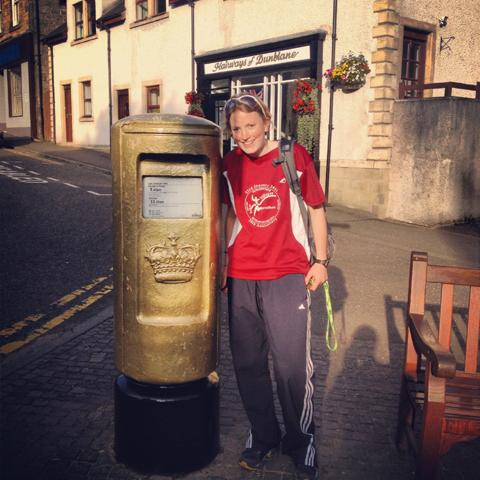 Kirsten Shaw next to Andy Murray's golden post box in Dunblane