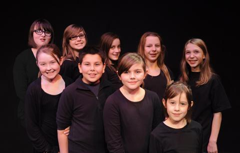 Members of the chorus, clockwise from top left, Chloe Wilkinson, Xana Grassby, Laura Downes, Phoebe Howman, Abigail Chetham, Ruby Barnhill, Eve Walker, Tom Nanda and Evie Jackson