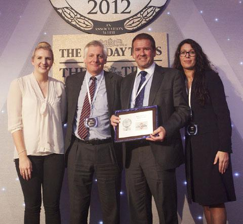 From left, Rebecca Adlington, John Halman, Peter Higham and Athena Hubble, sales director at Zoopla Property Group, at the awards ceremony at the Lancaster Hotel in London