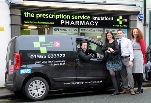 George Osborne behind the wheel the Prescription Services delivery van              n130223