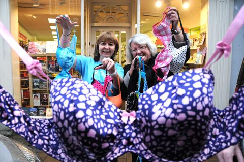 Heather Tudge of Oxfam, left, and Margaret Carr of Soroptimist International with some of the bras which have been donated to Oxfam                                                                                                      n130324