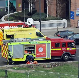 Knutsford Guardian: Emergency services at the scene on Vauxhall Cross intersection after a helicopter crashed into a crane