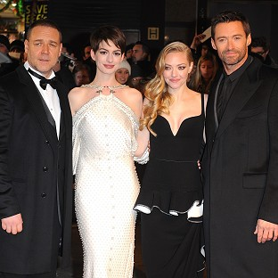 Russell Crowe, Anne Hathaway, Amanda Seyfried and Hugh Jackman star in Les Miserables