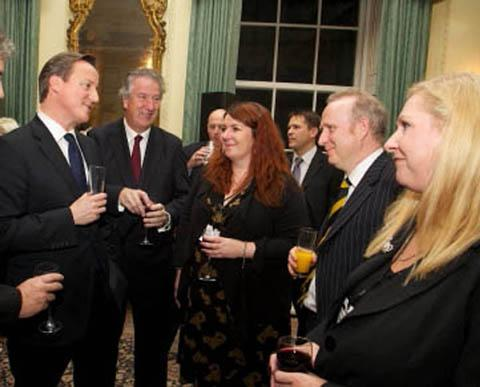 From left, David Cameron, David Mowat, Warrington South MP, Carla Flynn, Northwich Guardian editor, Graham Evans, Weaver Vale MP, and Nicola Priest, Guardian Series Newspapers group editor
