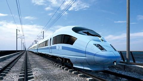 An artists impression of a HS2 train