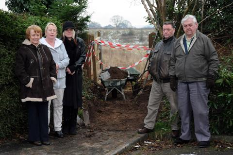 The Mobberley residents are not happy at the new gated entrance 	n130517