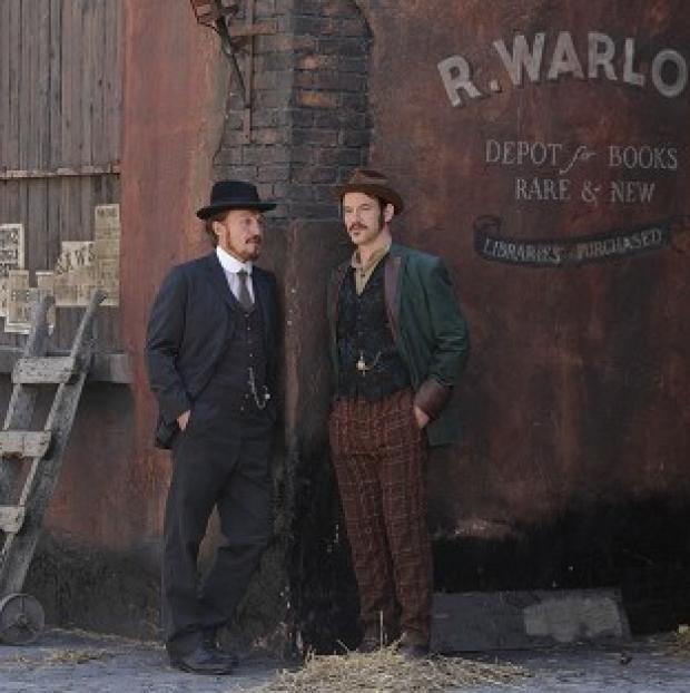 Jerome Flynn and Adam Rothenberg on the set of theBBC drama Ripper Street