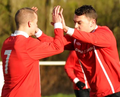 Knutsford celebrate scoring one of their four goals against Pilkington. Picture: Sally Greenway.
