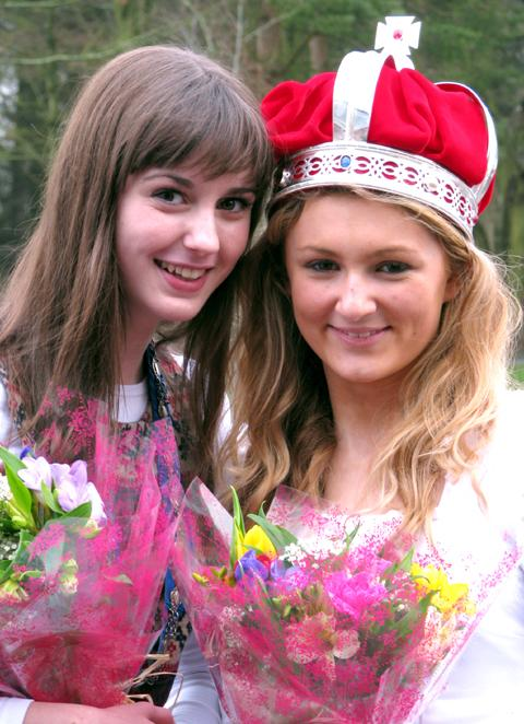 May Queen elect Jenny Warburton, 13, and current May Queen Lakeisha Bradbury                                                                                             n130779
