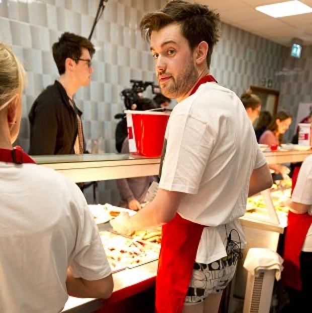 Jack Whitehall serves students breakfast at Newcastle University in his underwear