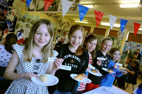 Goostrey pupils go French. From left, Emily Mason, Erin Mitchell, Amelia Percy, Jessie Page, Amy Riddell                                 n131026