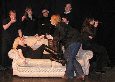 The cast, back row, Paul Baston, Ali Hulford, David Muncaster, Bob Jennings,  on the  sofa Viv  Cunningham and Zoe  Garner, front Lucy Oliver
