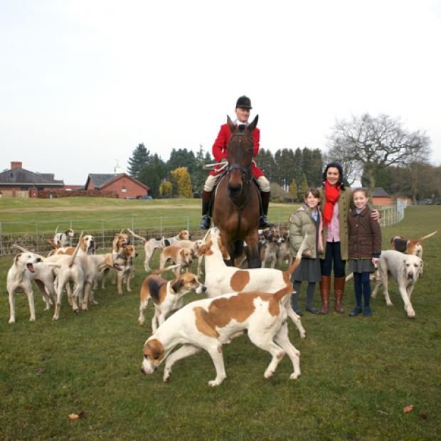 Andrew German, a huntsman in the Cheshire Forest Hunt, Holly Ardern from Peover Superior School, Karen Halton, from Cheshire Forest Hunt fund and Martha German from Peover Superior School