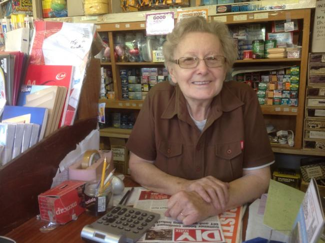 Margaret Kettle, 91, who runs the village store in Goostrey, has been interviewed by the village archive group                              Picture courtesy of John Williams