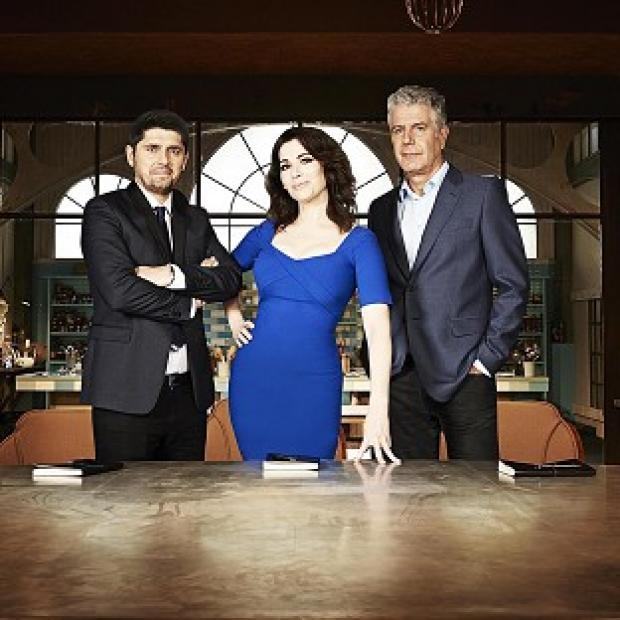 Knutsford Guardian: Nigella Lawson stars on The Taste with Ludo Lefebvre (left) and Anthony Bourdain