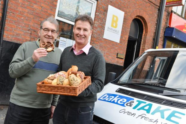Alan receives his first donation from bake & TAKE