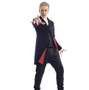 New Doctorr Who star Peter Capaldi showing his costume, a dark blue Crombi