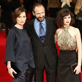 Kristin Scott Thomas (left), Ralph Fiennes and Felicity Jones arrive at the premiere of The Invisible Woman