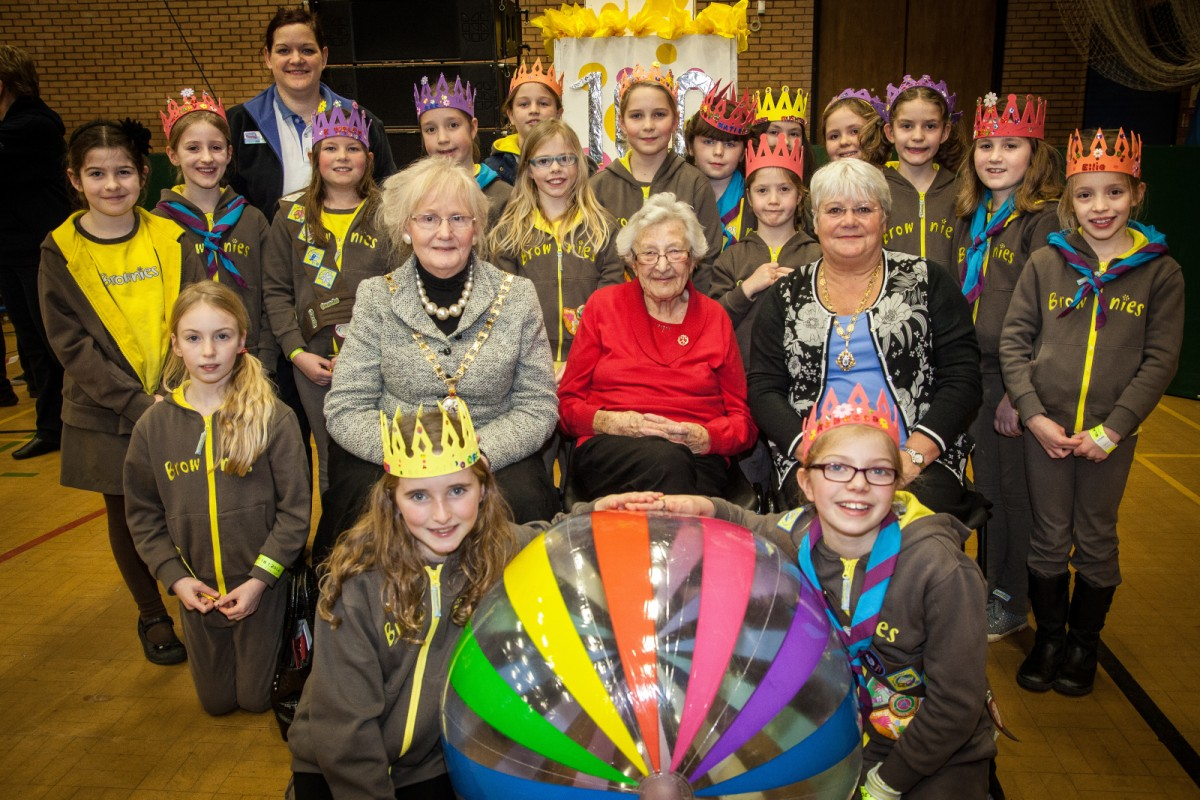 The 6th Knutsford Brownies group pictured (middle left-right) Mayor of Cheshire East Clr Dorothy