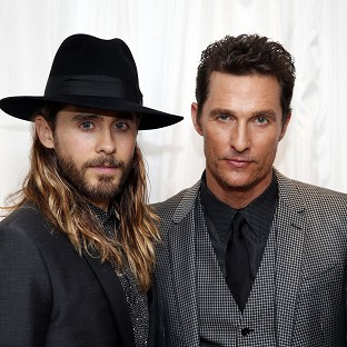 Matthew McConaughey (right) arrives with Jared Leto at the Washington Hotel, London, for the UK premiere of Dallas Buyers Club