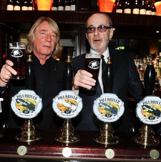 Knutsford Guardian: Rick Parfitt and Francis Rossi of Status Quo with their new beer Piledriver
