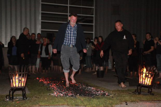 Rod takes the challenge of the Fire Walk in October 2013