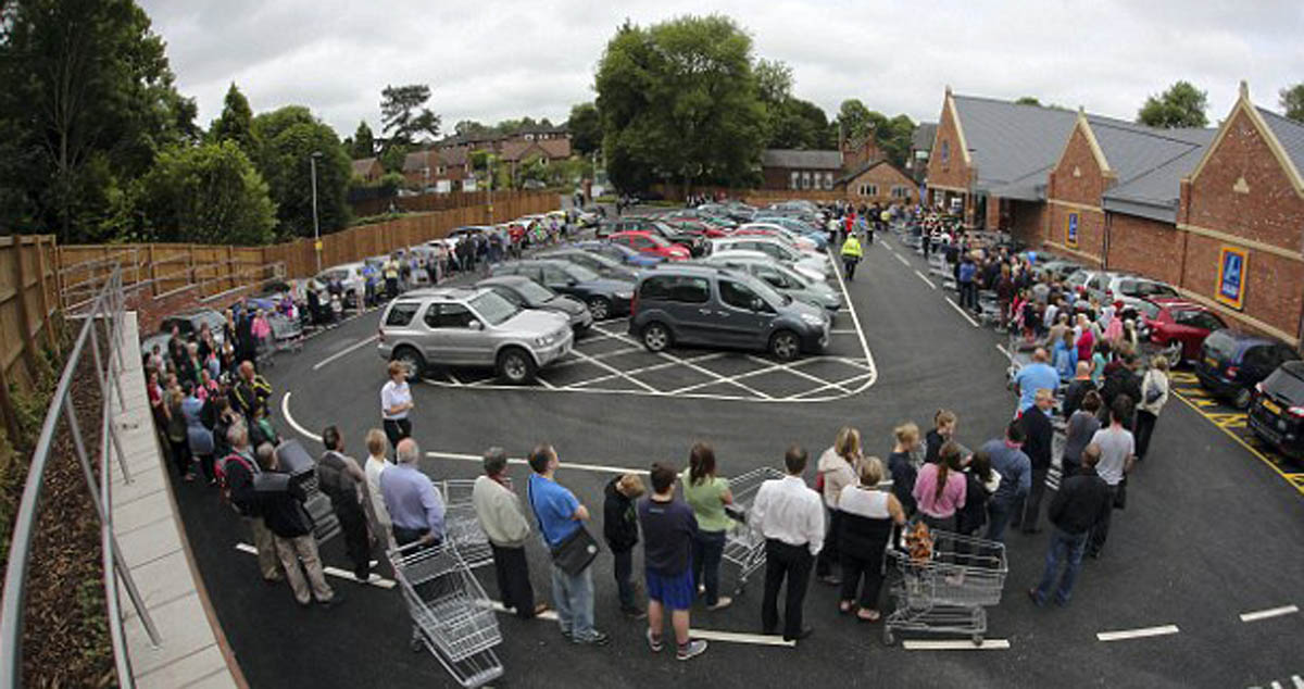 Aldi's car park when it opened in June 2013.The car park extension will be to the left of the picture. Picture: Jonathan Farber
