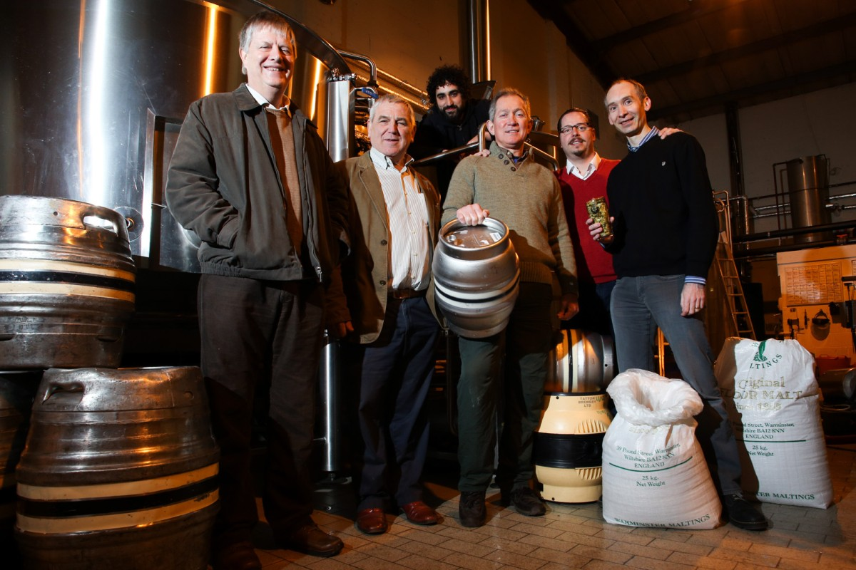 Master Brewer Paul Buttrick, May Day committe member Roger Sutton, Tatton Brewery's Greg Sawyer, Foodzeens' Jonathon Farber and beer festival organiser Andrew Malloy.  Tatton brewer Lee Gannon back row