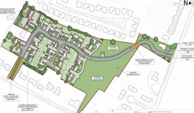 The site plan produced by Bloor Homes for the site off New Platt Lane
