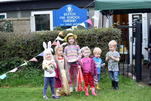 Some of Bexton Pre-School's 'egg-hunters'