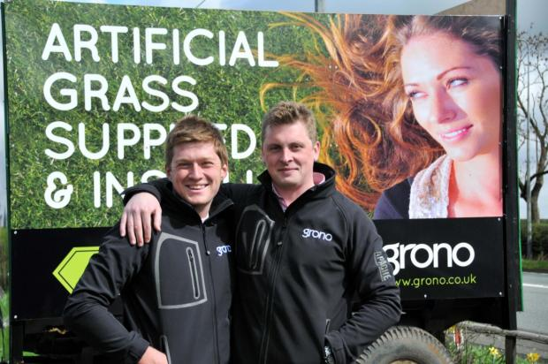 Knutsford Guardian: Step-brothers James Crawford and Sam Horne have set up an artificial grass installation specialist company in Bucklow Hill
