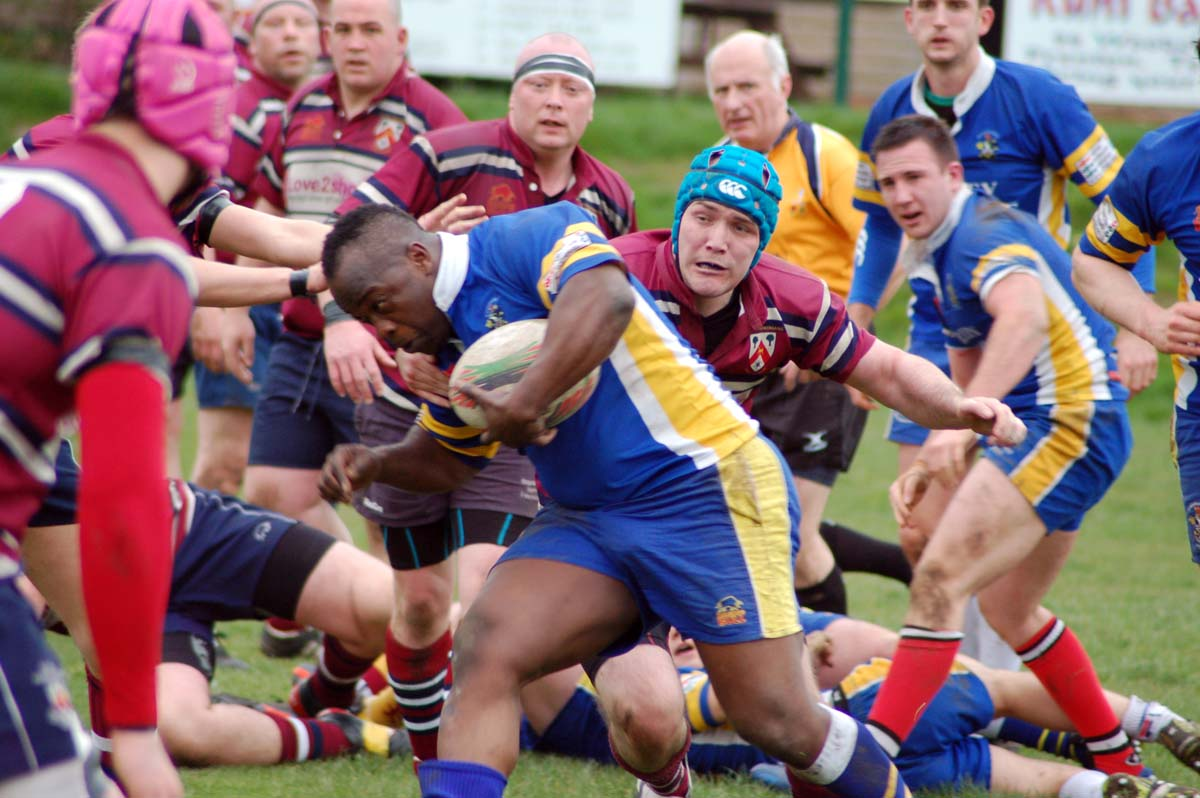Knutsford prop Chiko Mwale drives forward during Saturday's 31-17 defeat at Oxton Parkonians