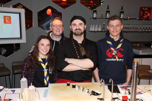 Catherine Eadie and Max Davies with Cheshire Unit Leader Dave Hopley and Peter Fletcher from Yo Sushi.