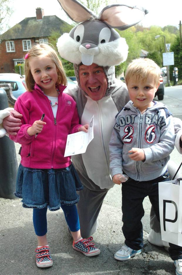 Knutsford Guardian: Ben Hazlehurst, three and Charlotte Hazelhurst, five, took part in the event and were joined by Peter Murray from Pulse of Perfumery on Princess Street, who dressed up as bunny for the occasion.