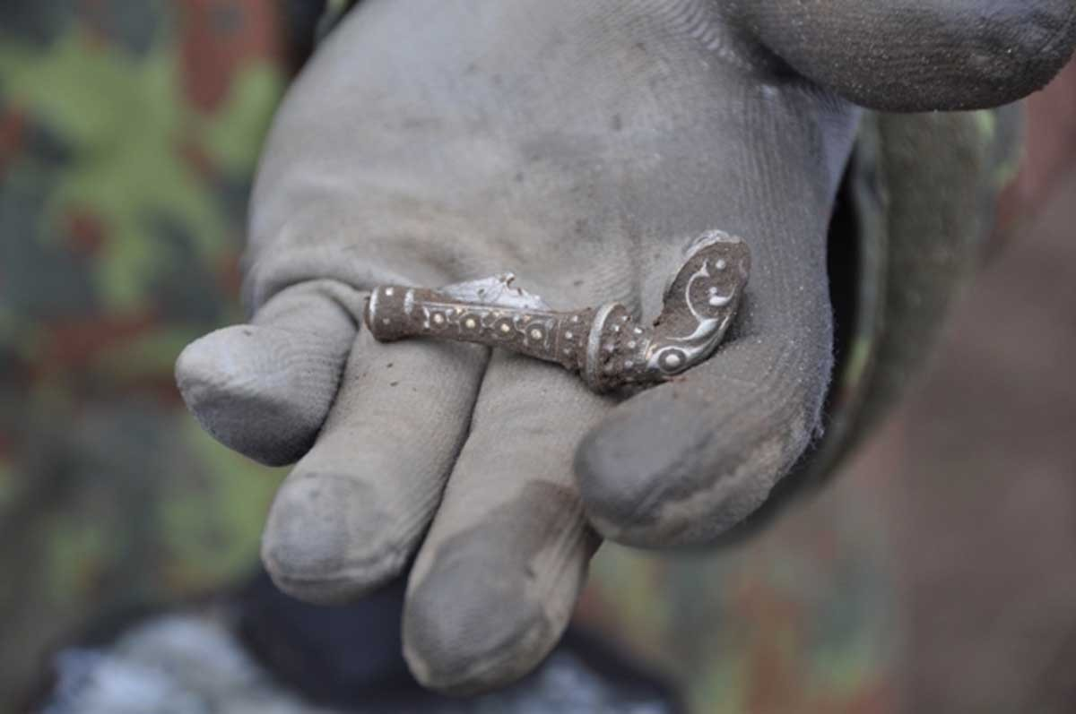 A Roman silver gilt brooch discovered i