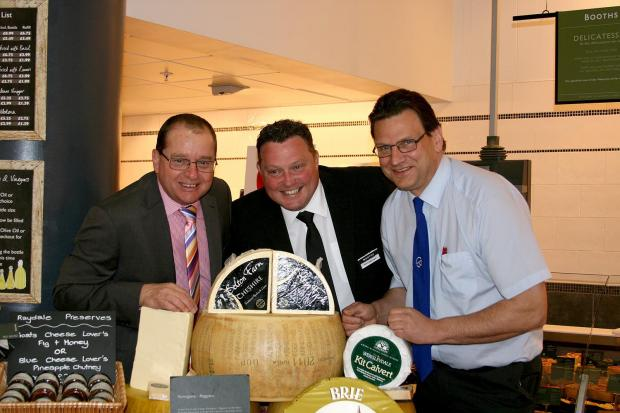 Nigel Evans, executive director of Cheshire County Show, Ian Jacques, store manager at Booths in Knutsford and Dave Williams, chief steward of the cheese section at the Cheshire Show