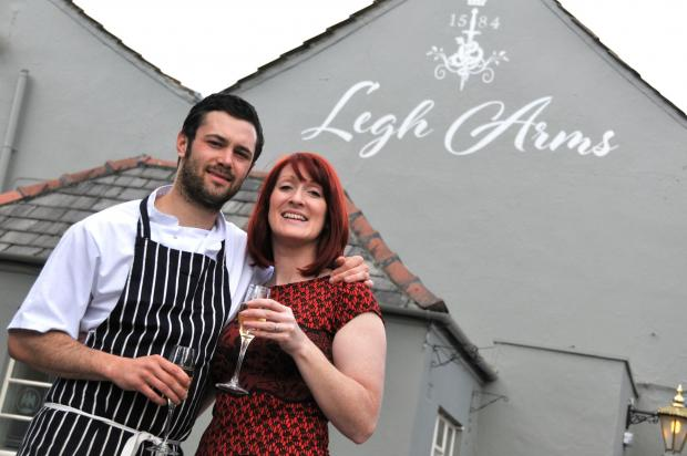 Knutsford Guardian: Landlords Zoe Naylor and Matt Blythe raise their glasses to the reopening of The Legh Arms.n141927.