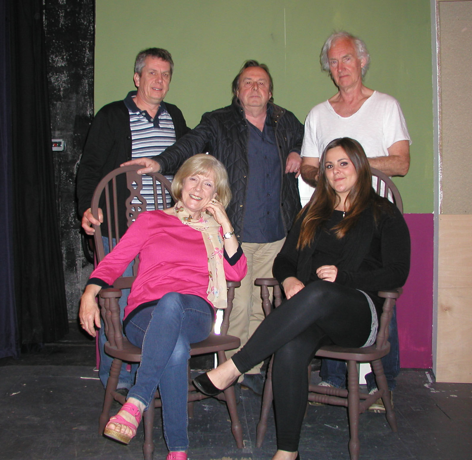 The cast from left to right, back row, Paul Baston, Tony Turner, Chris Marriott. and seated Viv Cunningham and Viccie Dougal