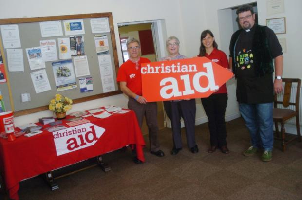 Nick Eadie, Christian Aid Co-ordinator, Jackie Betts, Mobberley Methodist Minister, Bex Turner, Christian Aid Fundraising Officer, and Ian Bley, Rectar of Mobberley