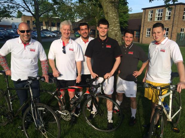 Some of the cyclists preparing for their challenge. From left, Eric McNicol, Colin Campbell, Marwan El-Amin, Gavin Campbell, Dave Mason and Scott McNicol.