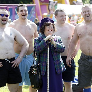 Chieftain of the British Pipe Band Championships Susan Boyle meets highland games competitors at the West Lothian Highland Games and Briti