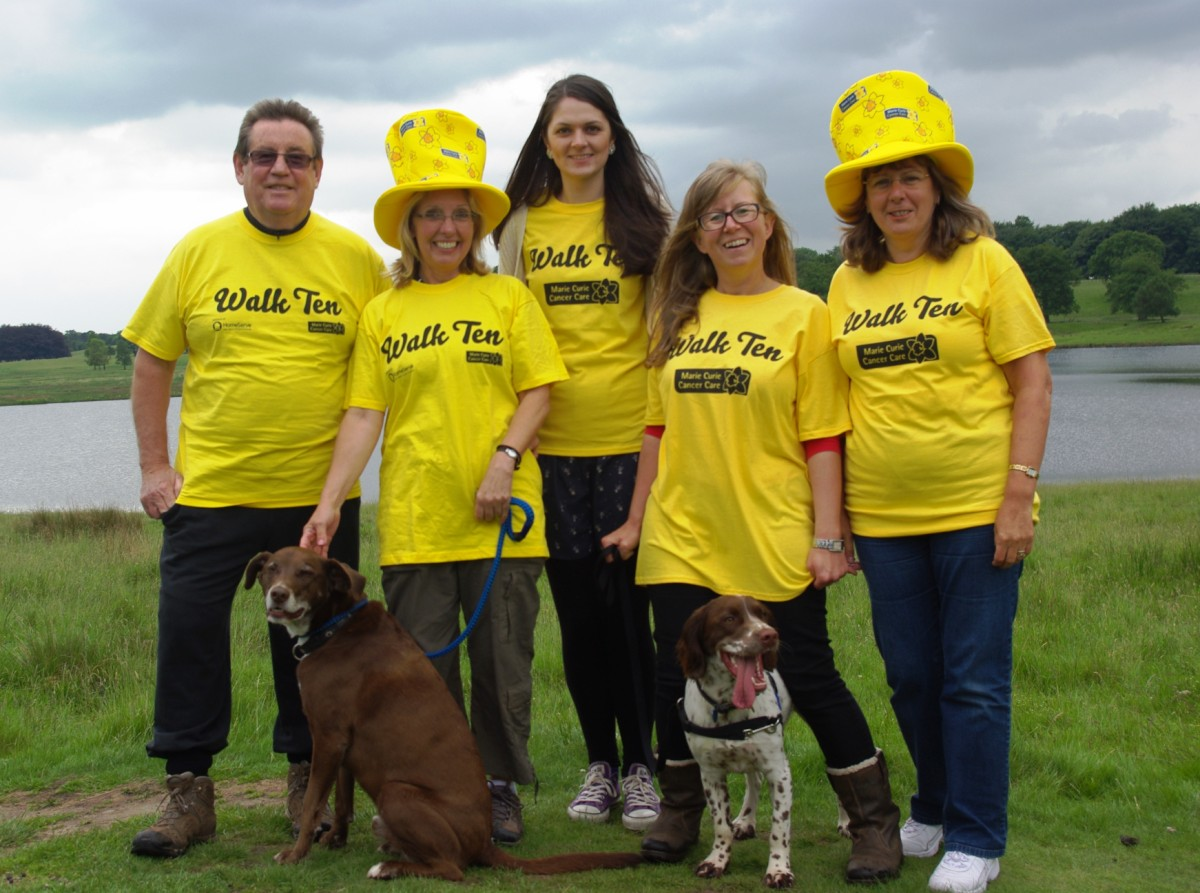 Marie Curie supporters in Tatton Park. L-R – Back row - Ron Drake, Susan Drake, Jessica Herrington, Pam Elliott, Heather Lawrence.  Front row – (dogs) L-R – Benny and Colin