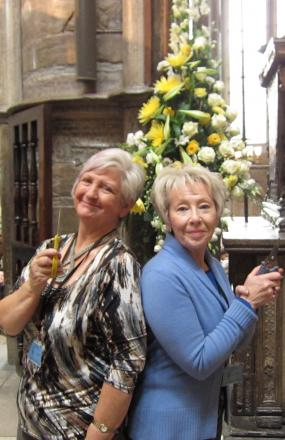 Dorothy Monks from Goostrey Flower Club and Christine Gibbons from Knutsford Flower Club