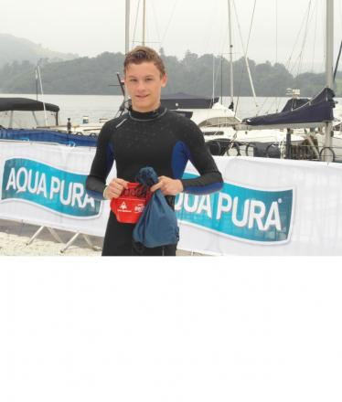 Max Davies after he completed the Great North Swim in Lake Windermere at the weekend