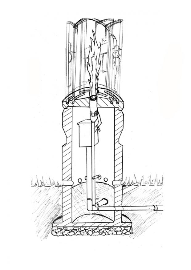 Knutsford Guardian: A cross-section drawing of the commemorative flame