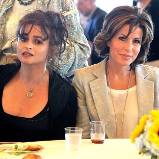 Natasha Kaplinsky (right) and Helena Bonham Carter during a visit to The Museum of Jewish Heritage in New York